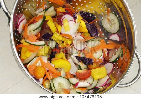 Chopped Salad Vegetables Mix In A Colander
