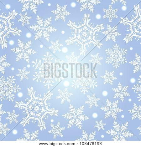 Light Blue Pattern With Snowflakes, Vector