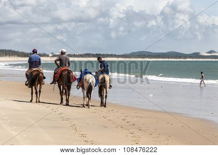 Men Horse Riding On The Beach