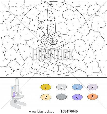 Color By Number Educational Game For Kids. Funny Cartoon Dragon Considering The Microscope. Vector I