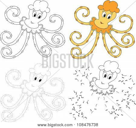 Cartoon Octopus. Vector Illustration. Dot To Dot Game For Kids