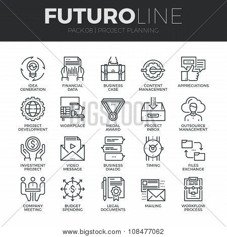 Project Planning Futuro Line Icons Set