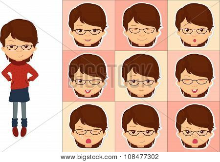 Girl With Glasses Emotions: Joy, Surprise, Fear, Sadness, Sorrow, Crying, Laughing, Cunning, Wink