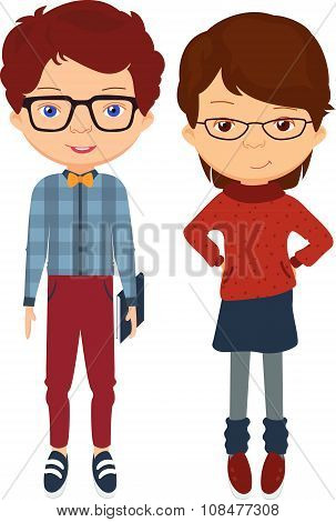 Boy In Jeans, Plaid Shirt, Sneakers And Bow Tie. Girl In A Sweater, Skirt And Glasses