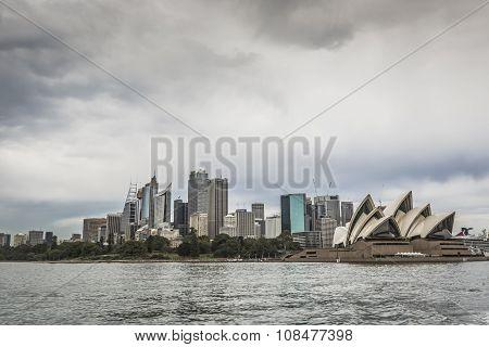 Sydney - October 27 : Sydney City Circular Quay Sunset Lights And Illumination Blue Cloudy Dusk. Oct