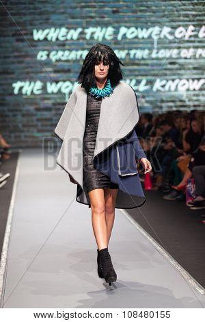 ZAGREB, CROATIA - OCTOBER 31, 2015: Fashion model wearing clothes designed by Zoran Aragovic (BiteMyStyle) on the 'Fashion.hr' fashion show