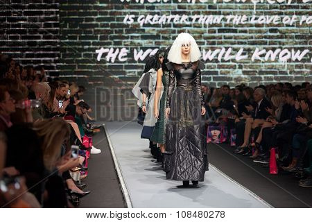 ZAGREB, CROATIA - OCTOBER 31, 2015: Fashion models wearing clothes designed by Zoran Aragovic (BiteMyStyle) on the 'Fashion.hr' fashion show