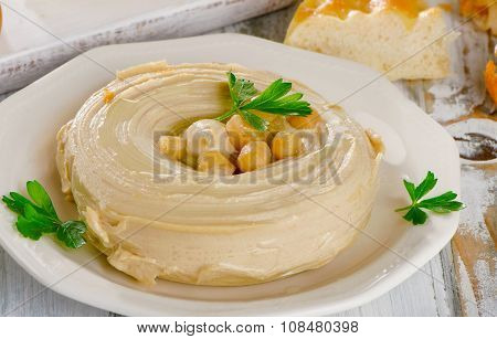 Plate Of A Healthy Creamy Hummus.