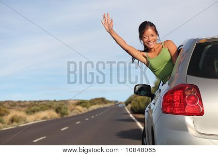 Woman In Car Road Trip