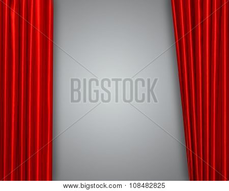 Red curtain on theater or cinema stage slightly open