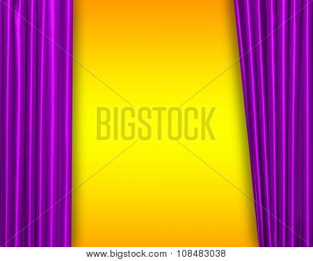 Purple curtain on theater or cinema stage slightly open