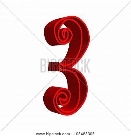 3D number three 3