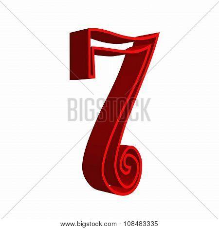 3D number seven 7