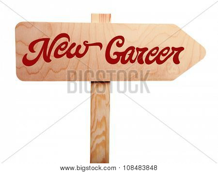 Dream job concept. Wooden sign arrow isolated on white