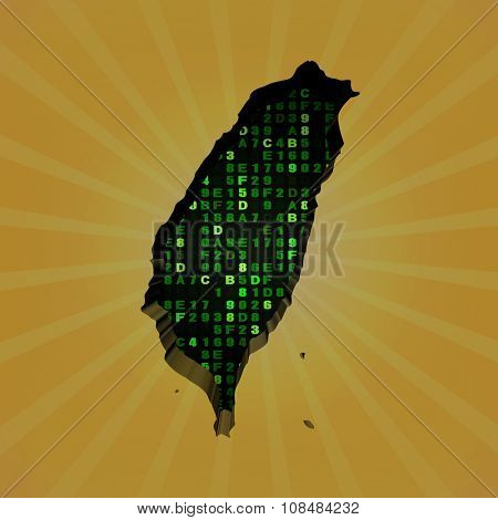 Taiwan sunburst map with hex code illustration
