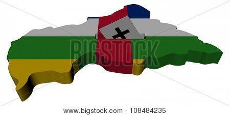 Central African Republic election map with ballot paper illustration