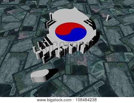 South Korea Map flag on Won illustration