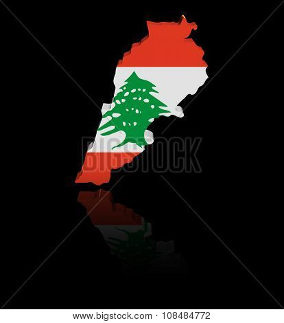 Lebanon map flag with reflection illustration