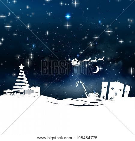Christmas scene silhouette against stars twinkling in night sky
