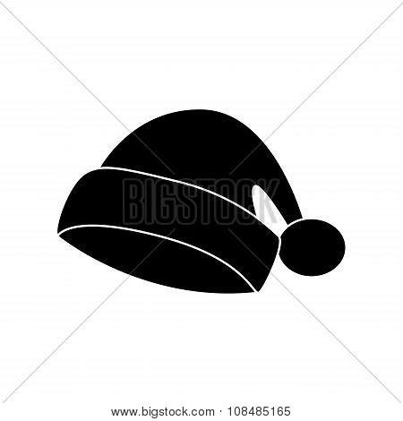 Santa Hat, Christmas Cap Icon, Symbol, Silhouette. Winter Vector Illustration Isolated On White Back