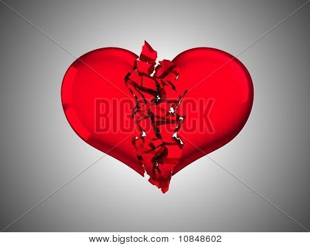 Red Broken Heart - Unrequited Love Or Illness