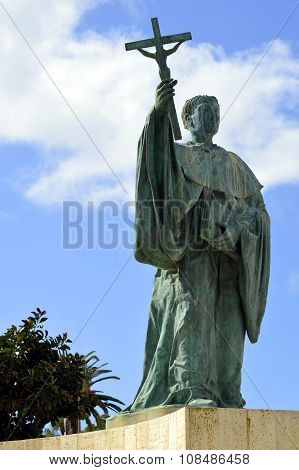 Statue of the Portuguese Patron Saint of fishermen in t