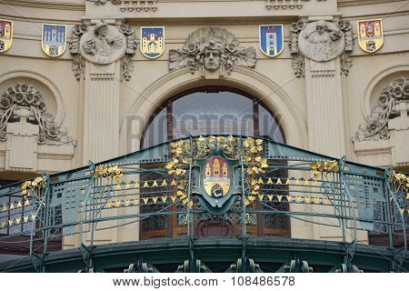 Ornate Forged Fence Of Municipal House Balcony Above Entrance, Prague.
