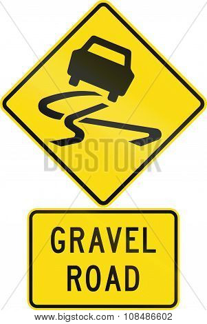 Road Sign Assembly In New Zealand - Gravel Road