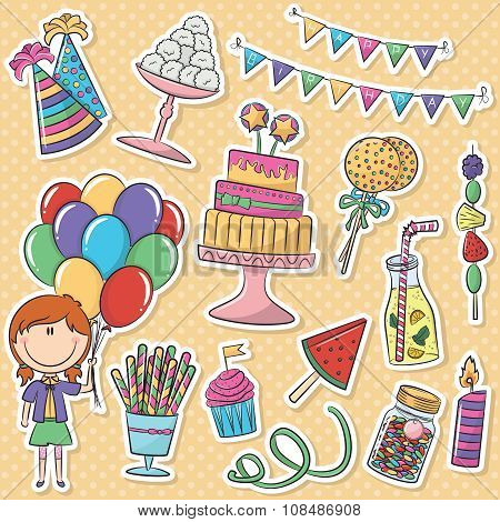 Birthday Icons Stickers Set