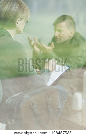 Soldier Talking With Psychiatrist