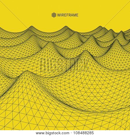 Wavy Grid Background. 3d Abstract Vector Illustration.