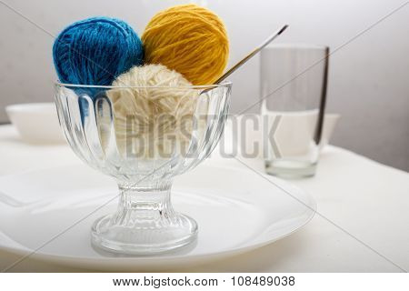 Ball Of Wool Yarn, Which Lie Like Dessert