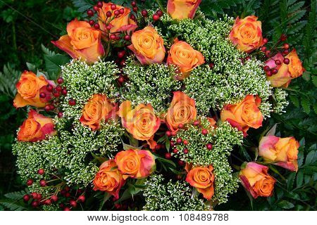 Bouquet Of Roses In Autumn Colors