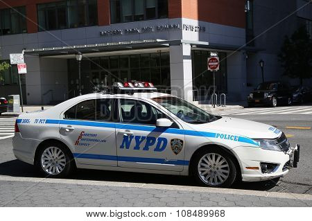 NYPD car provides security near Freedom Tower