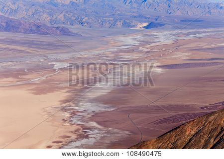 Death Valley from above with salted grounds