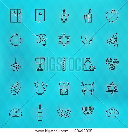 Happy Hanukkah Thin Line Icons Set