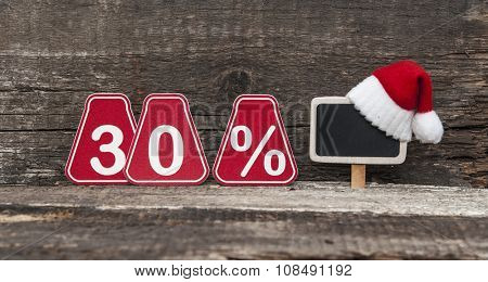 christmas discount with thirty percent sign.