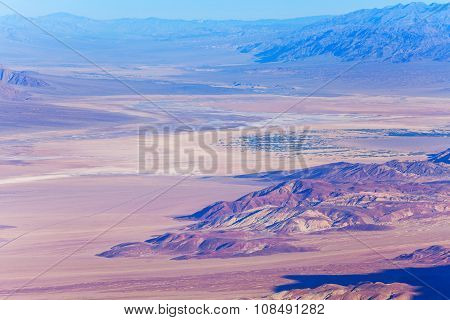 Panorama of the Death Valley mountains and grounds