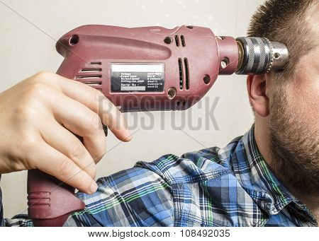 Worker Tired At Work And Wants To Commit Suicide By Shooting Himself, Using An Electric Drill