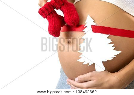 Pregnant With Red Ribbon, Paper Spruce, Baby's Bootees