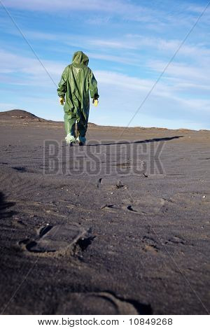 Scientific Ecologist In Overalls In Desert