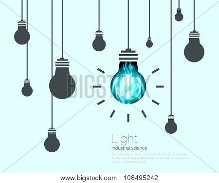 Light Bulbs Background. Industrial Science Idea concept vector illustration