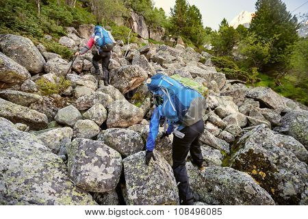 Young People Are Hiking In Highlands Of Altai Mountains, Russia