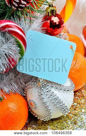 Christmas Decoration, Christmas Baubles, Pinetree And Ripe Tangerines.