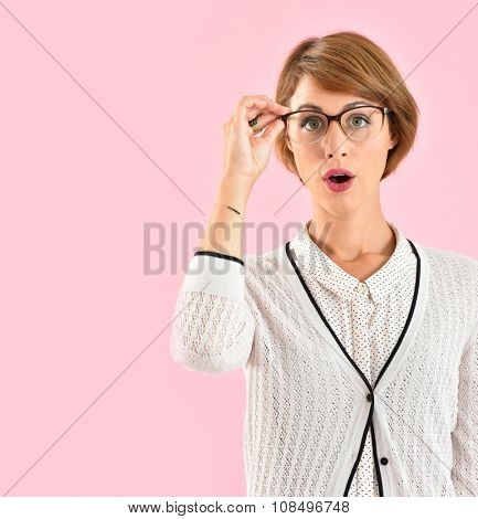 Portrait of trendy girl with eyeglasses on