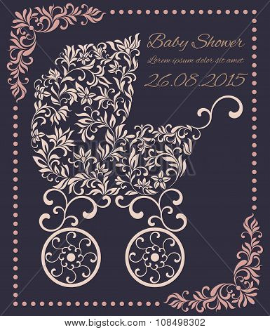 Baby Shower Invitation Template. Baby Carriage From A Floral Pattern