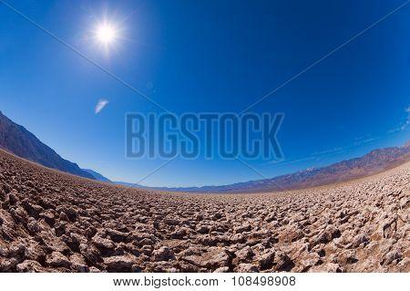 Panorama of Death Valley salt desert