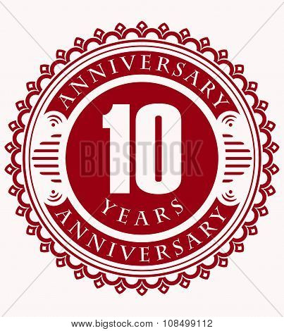 Vintage Anniversary 10 Years Round Emblem. Retro Styled Vector Background In Red Tones.