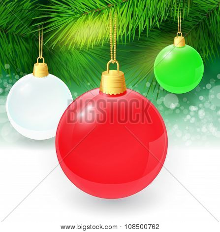 Christmas background with fir twigs and christmas balls. Vector illustration.