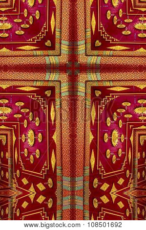 kaleidoscope cross:  gold and red detail